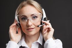How can I help you. Call center operator against white backgroun stock image