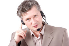 How can i help you? Helpdesk or support operator. royalty free stock image