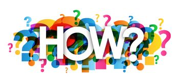 HOW? colorful overlapping question marks banner. Vector royalty free illustration