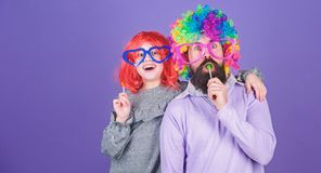 How crazy is your father. Easy simple ways be fun playful parent. Man bearded father and girl wear colorful wig while. Eat lollipop candy. Thing loving father royalty free stock photo