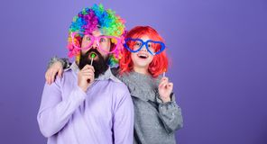 How crazy is your father. Easy simple ways be fun playful parent. Man bearded father and girl wear colorful wig while. Eat lollipop candy. Thing loving father stock image