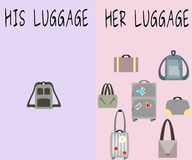 How different we are. The number of luggage women take with them and men do royalty free illustration