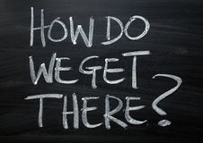 How Do We Get There written on a Blackboard. The question How Do We Get There on a blackboard as a reminder to plan for your outcomes royalty free stock images