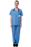 How do i meet your needs ?. Full length image of smiling female doctor Stock Photos