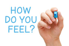 How Do You Feel. Hand writing How Do You Feel with blue marker on transparent wipe board Royalty Free Stock Photo