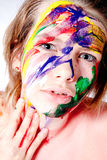 How do you like my self made wet paint make-up Stock Photo