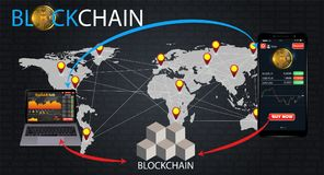 How does a blockchain work: cryptocurrency and secure transactions infographic. How does a blockchain work: transactions infographic vector illustration