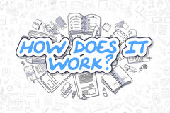How Does IT Work - Doodle Blue Word. Business Concept. Stock Photos
