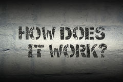 How does it work gr. How does it work question stencil print on the grunge white brick wall Royalty Free Stock Photo
