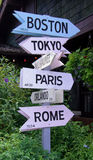 How Far Is It. A photograph of a distance direction sign showing Boston, Tokyo, Paris, Orlando, and Rome royalty free stock photos