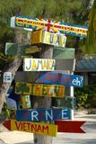 How Far Are You From Home?. The directional sign sitting in Rum Point on Grand Cayman.  Guyana, Jamaica, Canada, Ireland France and Vientam are shown Stock Images