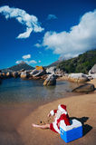 This is how Father Christmas likes to relax Royalty Free Stock Image