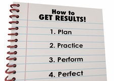 How Get Results Plan Practice Perform Perfect. 3d Illustration Royalty Free Stock Images
