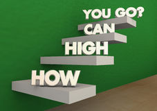 How High Can You Go Steps Stairs Achieve Success. 3d Illustration vector illustration