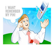 How i can remember PIN-code?. Any time he forgets PIN-code for his mobile. Look at man who just thinking about that numbers royalty free illustration