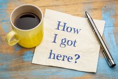 How I got here? Napkin note. Stock Images