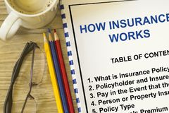 How Insurance works concept. Many uses in the insurance industry Stock Photos