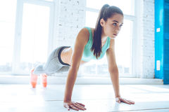 How long can you hold a plank? Stock Photos