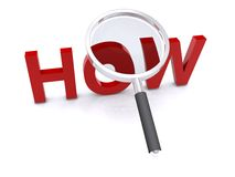 How with magnifying glass. The word How with a magnifying glass Royalty Free Stock Images