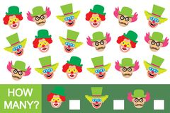How many clowns? Counting kid's game. Education. How many clowns? Counting kid's game. Education Stock Photography