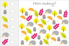 How many counting game with autumn pictures for kids, educational maths task for the development of logical thinking, preschool wo. Rksheet activity, count and stock illustration