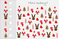 How many counting game with christmas pictures for kids, educational maths task for the development of logical thinking, preschool vector illustration