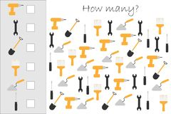 How many counting game with construction pictures for kids, educational maths task for the development of logical stock illustration