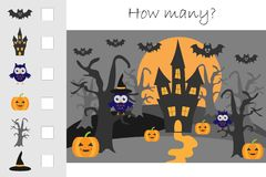 How many counting game, halloween for kids, educational maths task for the development of logical thinking, preschool worksheet. Activity, count and write the stock illustration