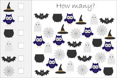 How many counting game with halloween pictures for kids, educational maths task for the development of logical thinking, preschool stock illustration