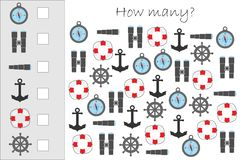 How many counting game with marine pictures for kids, educational maths task for the development of logical thinking, preschool vector illustration