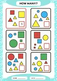 How Many. Counting Game for Preschool Children. Educational math game. Count the shapes in the picture and write the stock illustration