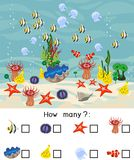 How many different underwater marine animals. Counting educational game with different sea animals for kids. How many different underwater marine animals stock illustration