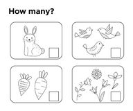 How many objects? Task for preschool kids. Coloring page or book. Learning mathematics, numbers. Math game. Vector illustrator Stock Photography