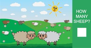 How many sheep, counting game for children. Learning numbers, mathematics. Vector illustration. How many sheep, counting game for children. Learning numbers Stock Image