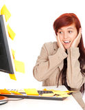 How many work to do. Young assistant with stickers on computer, a lot of things to do Stock Photos