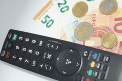 Pay TV. How much we have to pay to see our favorite Programm on TV Royalty Free Stock Images