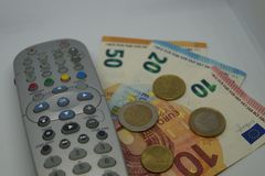 Pay TV. How much we have to pay to see our favorite Programm on TV Royalty Free Stock Image