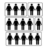 How much persons symbol. Black on white background Royalty Free Stock Photography