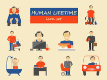 How much time we have. Lifetime elements. Icon set Stock Images