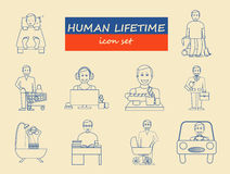 How much time we have. Lifetime elements. Icon set Stock Image