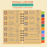 How much time we have. Lifetime elements. Infographic Stock Images