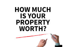 HOW MUCH IS YOUR PROPERTY WORTH? stock image