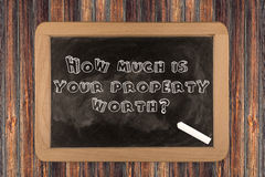 How much is your property worth?  - chalkboard Stock Image