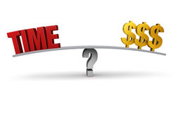 How Much Is Your Time Worth?. A bright, red TIME and three gold dollar signs sit on opposite ends of a gray board balanced on a gray question mark.  on white Royalty Free Stock Photography