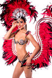 How is my new carnival consume ?. Beautiful carnival dancer in amazing costume over white Royalty Free Stock Photos