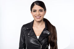 How is my new leather jacket ? Stock Images