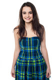 How is my new party wear ?. Glamorous happy teen in fashionable attire Royalty Free Stock Images