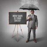How safe is your data  text on blackboard with businessman Royalty Free Stock Photo