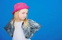 How stylish am i in this hat. Girl cute kid wear fashionable hat. Small fashionista. Cool cutie fashionable outfit. Happy childhood. Kids fashion concept stock photography