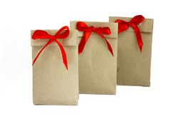 Cute envelopes with gifts lined up in a row and waiting for the stock image